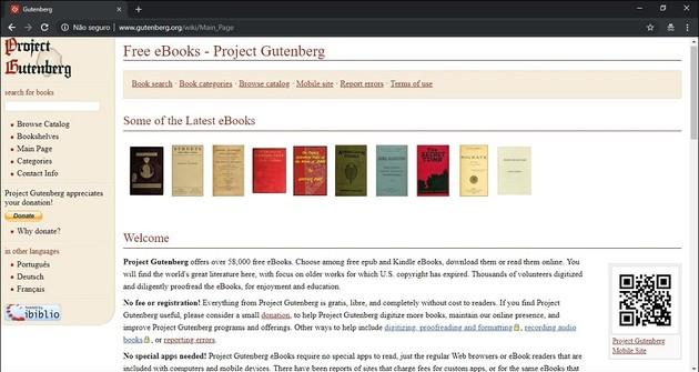 Baixar livros grátis legalmente com o Projeto Gutenberg