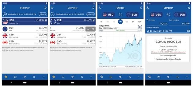 App XE Conversor de Moedas para converter dinheiro