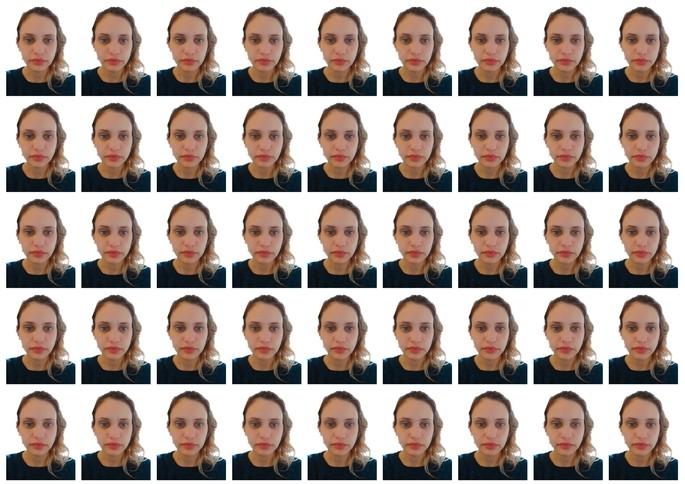 Folha de impressão com  fotos 3x4