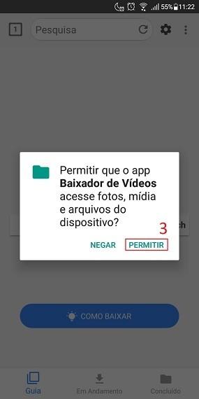 Acesso ao armazenamento Android com o Video Downloader