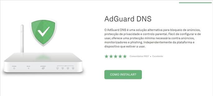 Interface do site do serviço AdGuard DNS