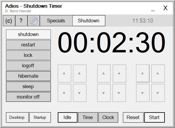Imagem de divulgação do programa de sleep timer para o Windows Adios