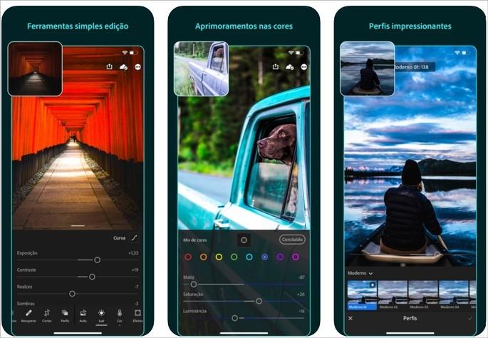 Imagens de divulgação do app Adobe Lightroom para iOS