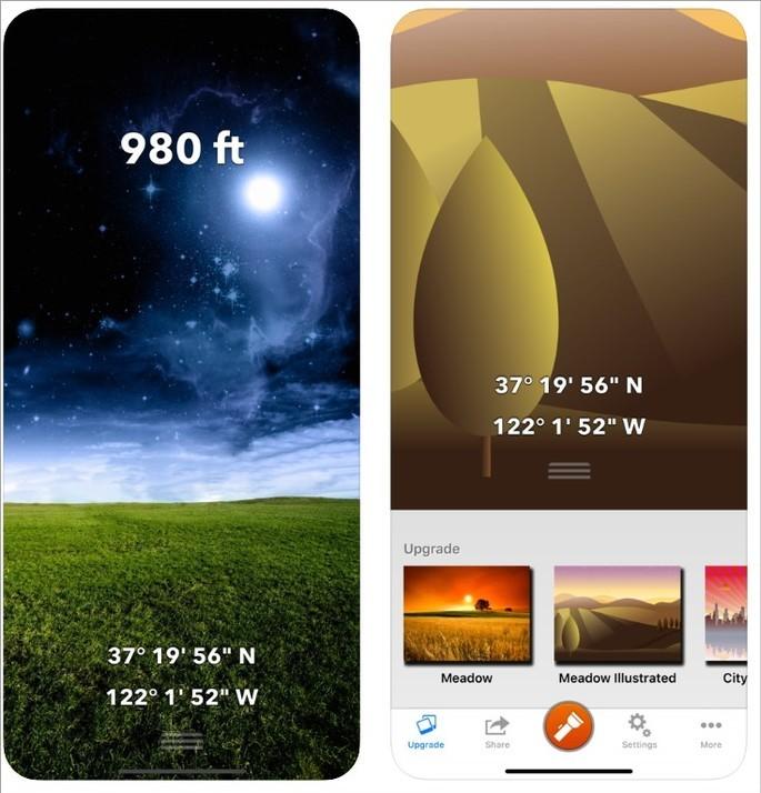 Imagens de divukgação do app Altímetro de viagem e elevação na App Store