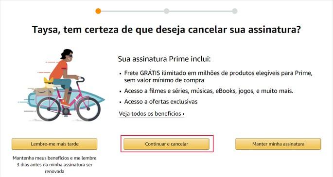 Cancelar assinatura Amazon Prime