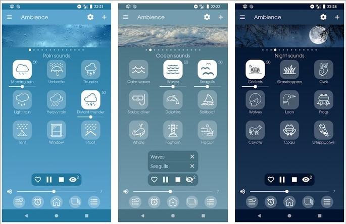 Imagens de divulgação do app Ambience na Play Store