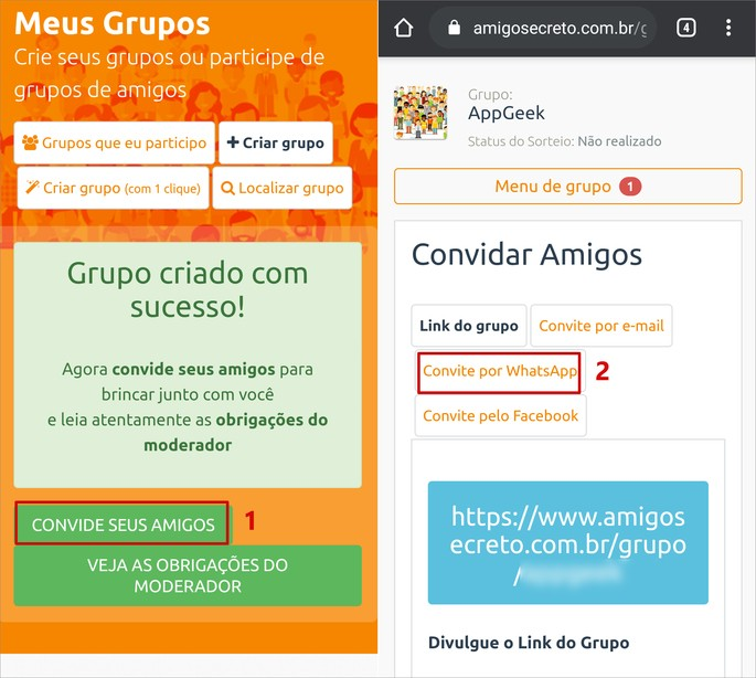captura de tela do site Amigo Secreto