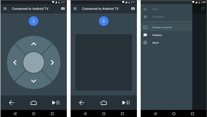 Imagens de divulgação do app Android TV Remote Control na Play Store