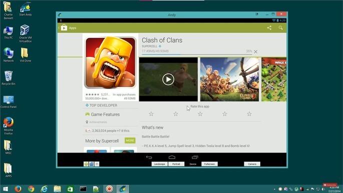 Emulador de Android para PC fraco Andy