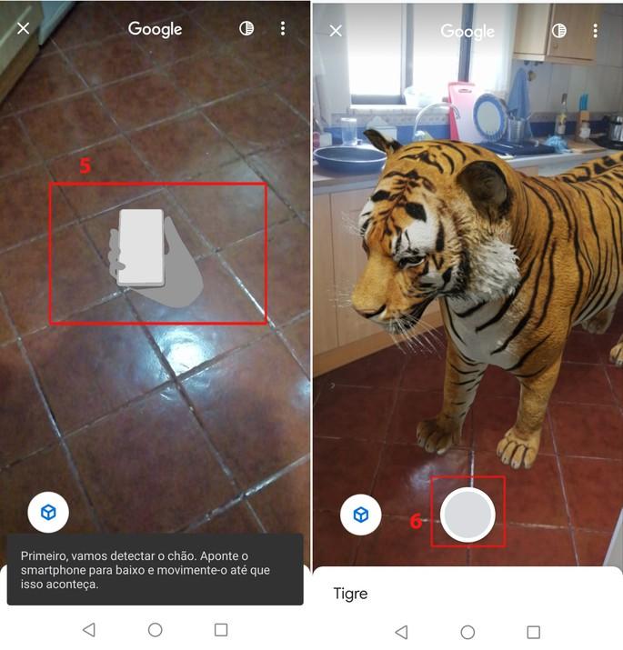 Animais em 3D Google tigre