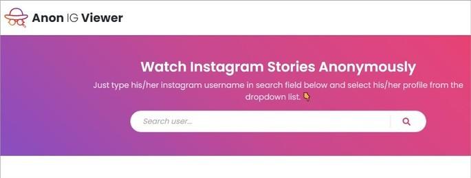 Captura do site para ver stories anonimamente An IG Viewer