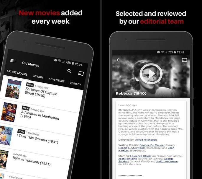 App de cinema Old Movies