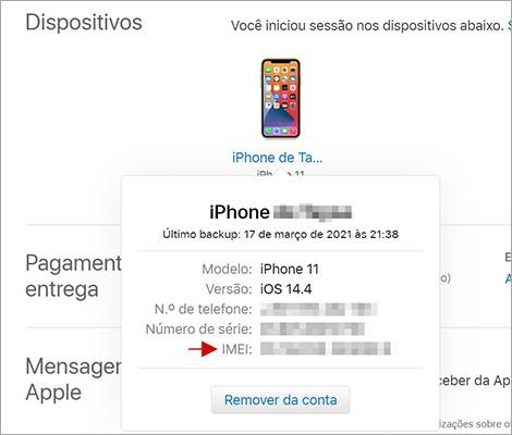 Como encontrar o iMEI no ID Apple