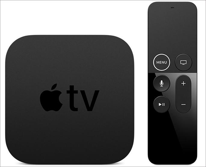 Caixa da Apple TV com controle em um fundo branco