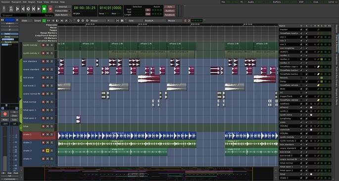 Captura de tela do editor de áudio Ardour