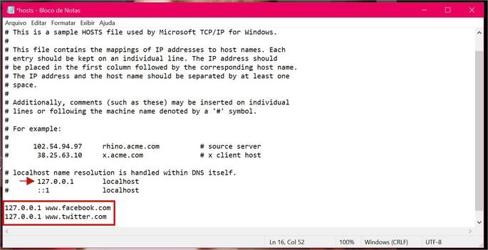 Processo para bloquear sites a partir do arquivo hosts