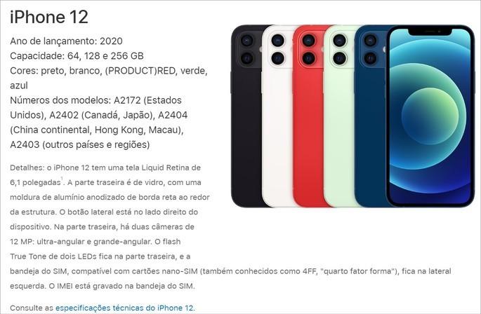 Descrição do iPhone 12 no site da Apple