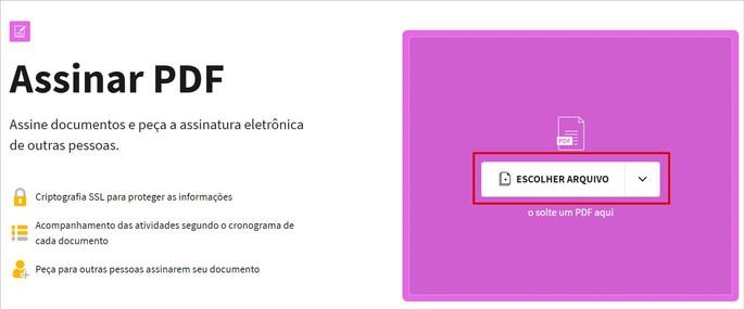 Captura da tela inicial do serviço Assinar PDF, do Small PDF