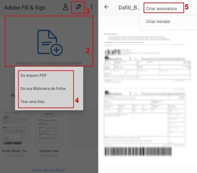 Como inserir assinatura no app Adobe Fill & Sign