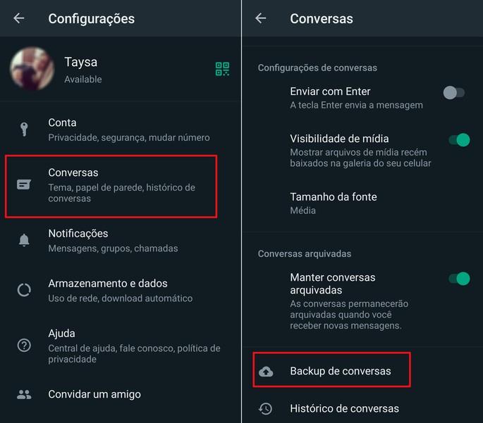 Passos para ativar o backup automático de conversas no WhatsApp para Android