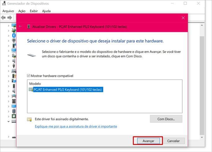 Atualizar driver do teclado o Windows