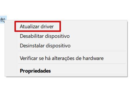 Menu do Gerenciador de dispositivos do Windows