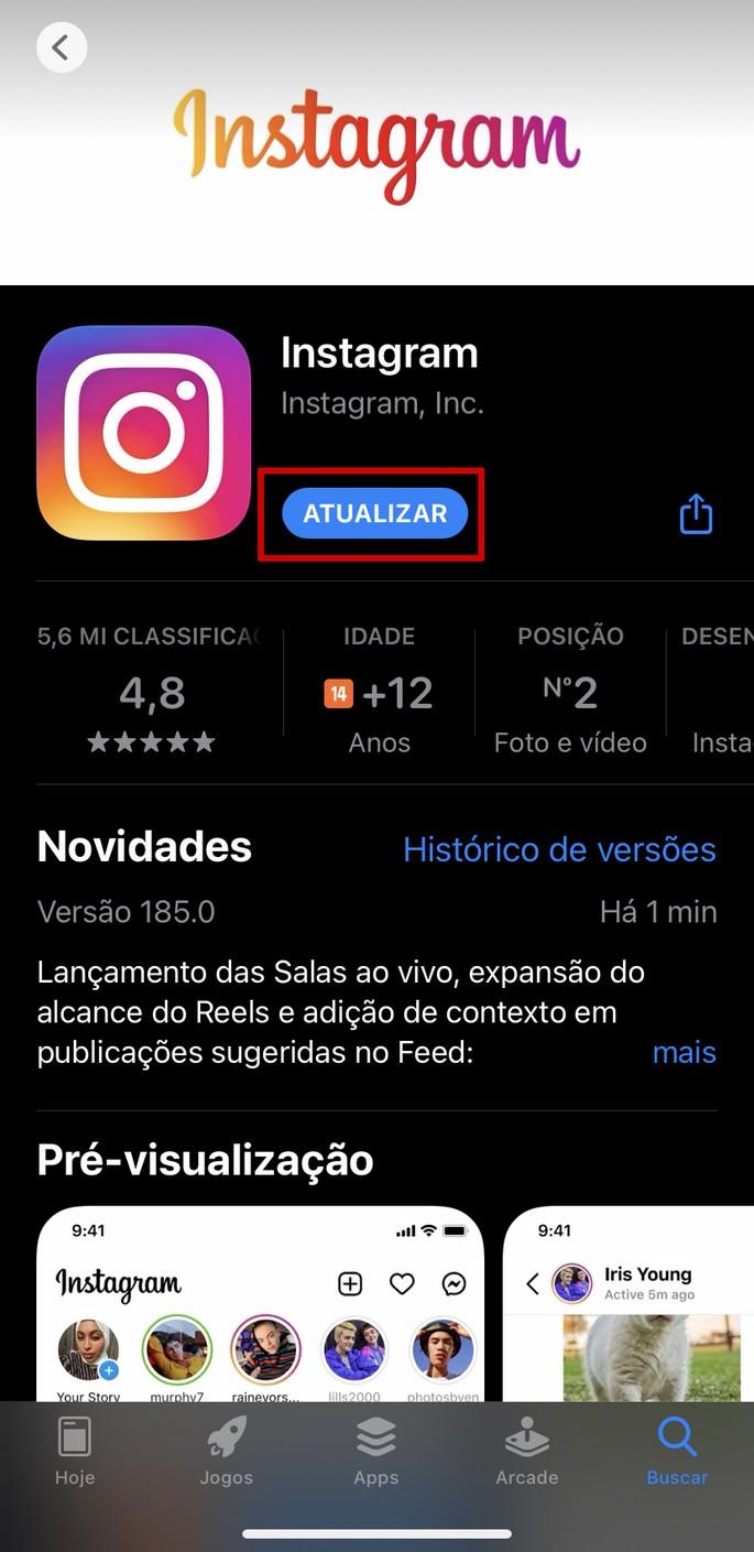 Como atualizar o Instagram no iPhone