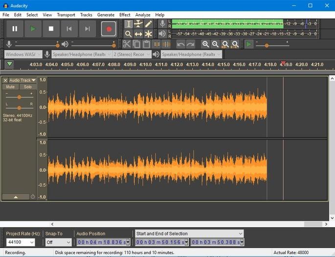 captura de tela do editor de áudio audacity