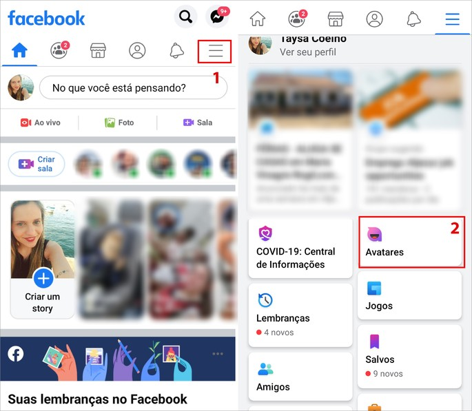 Acessando o recurso Avatares do Facebook