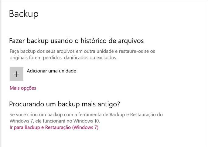 Opção para fazer backup automático de arquivos do Windows
