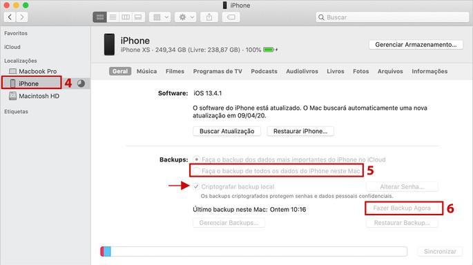 Tela de backup do iPhone no iTunes