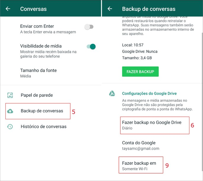 Como fazer backup das conversas do WhatsApp