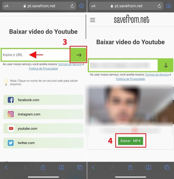 Como baixar vídeos no iPhone pelo site SaveFrom