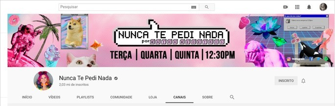 Banner do canal Nunca te Pedi Nada no YouTube