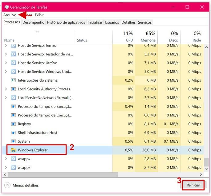 Reiniciando o Windows Explores pelo Gerenciador de Yatefas