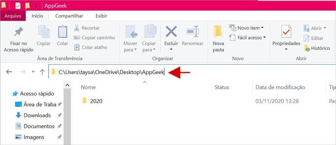Barra de endereços da pasta no Windows