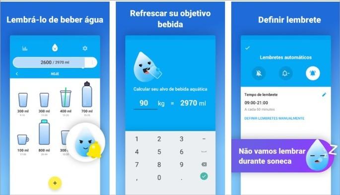 Imagens de divulgação do app Beba Água