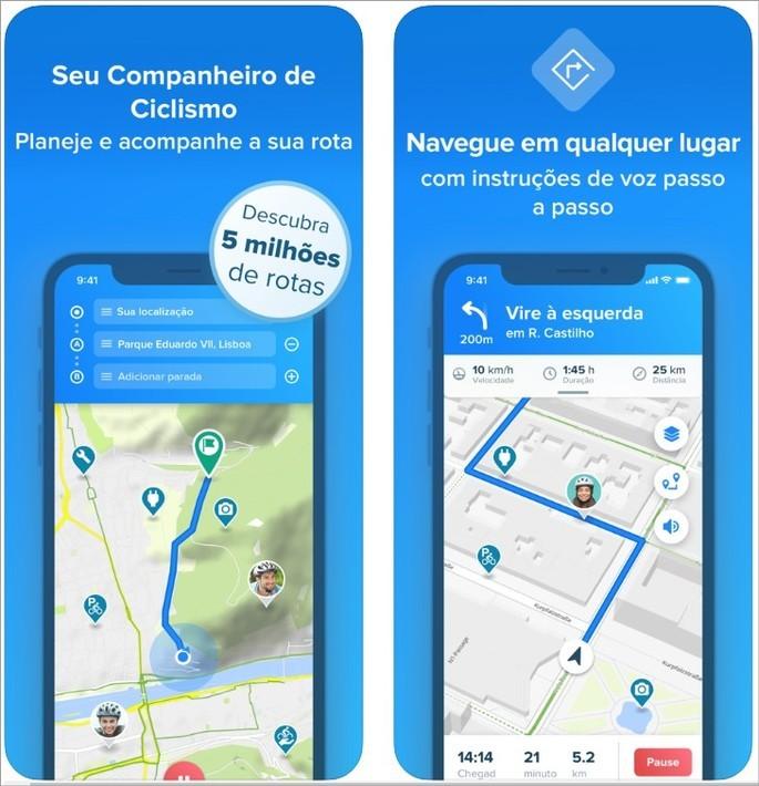 Imagens de divulgação do app Bikemap na App Store