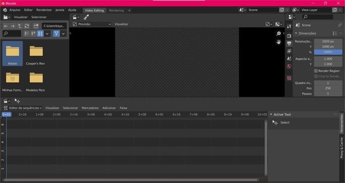 Captura de tela do editor de vídeos Blender