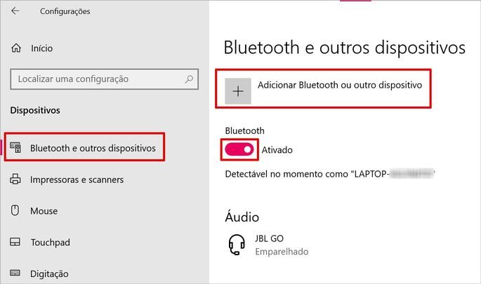 Ativando o Bluetooth no Windows 10
