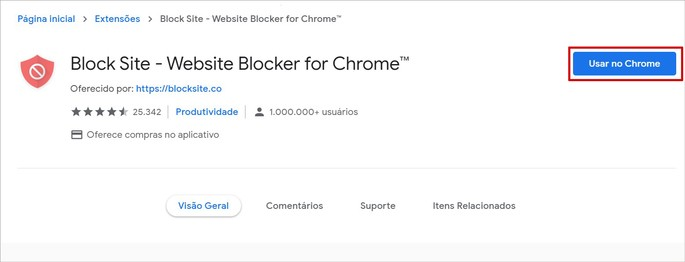 Baixando o plugin Block Site na Chrome Web Store
