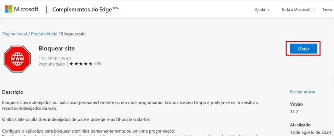Baixando o app Block Site no Edge