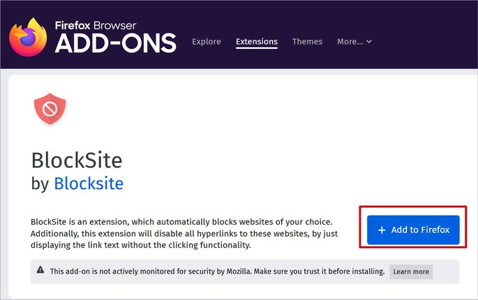 Baixando a extensão Block Site no Firefox