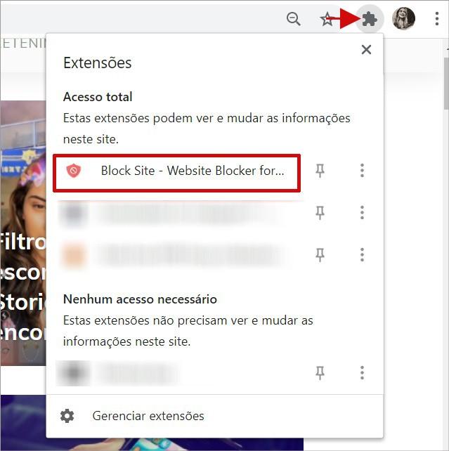 Clicando sobre a extensão Block Site no Chrome