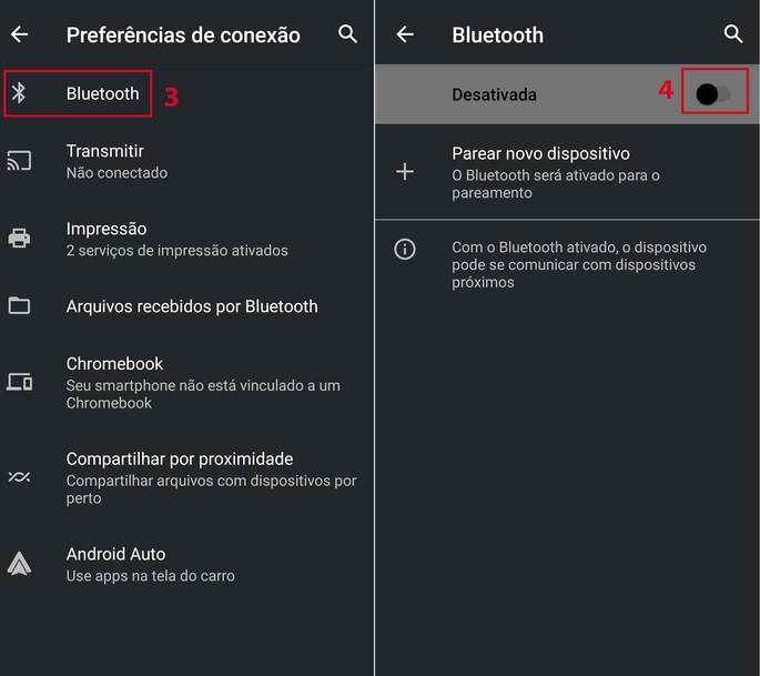 Ativando o Bluetooth no smartphone