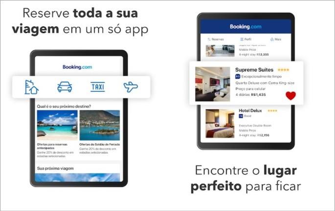 Imagem de divulgação do app de hospedagem Booking,com