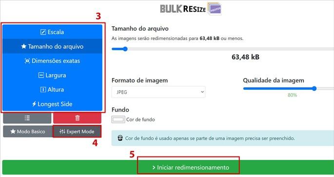 Captura de tela do site de redimensionamento de fotos Bulk Resize