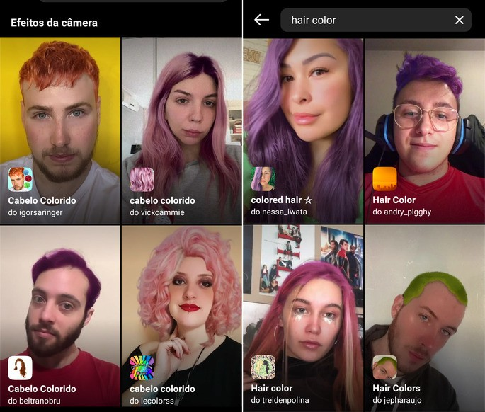 Exemplos de filtros de cabelo colorido no Instagram