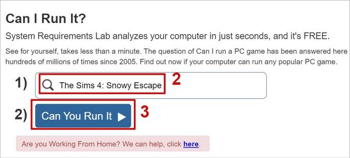 Pesquisando se jogo roda no PC no site Can I Run It
