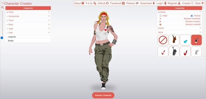 Ferramentas para criar avatar através do site Character Creator